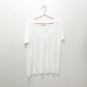 WHITE SOFT ZARA V-NECK T-SHIRT